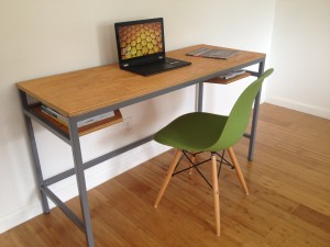 Wood and Steel Desk - Grey