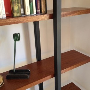 Mahogany and Steel Shelves